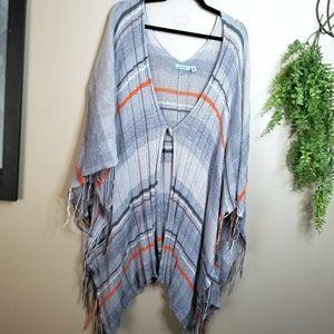 Goddis | Gray Striped Knit Poncho